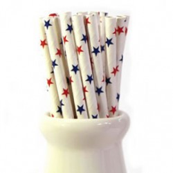 Straws Stars Red and Blue