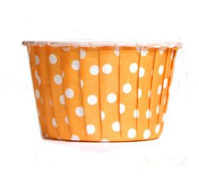 Baking Cups Orange Polka Dot