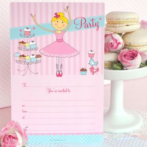 Pretty Ballerina Invitation & Envelopes