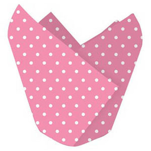 Baking Cups Tulip Pink Dots