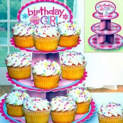 Cupcake Stand Birthday Girl 3 Tier