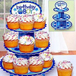 Cupcake Stand Birthday Boy 3 Tier