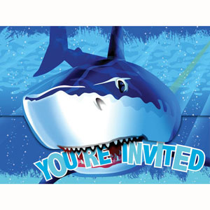 Shark Splash Invitations & Envelopes
