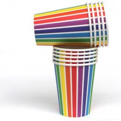 Rainbow Stripe Cups