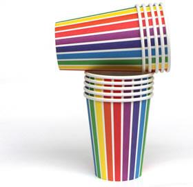 Rainbow Stripe Cups