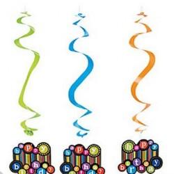 Happy Birthday Dangling Swirls