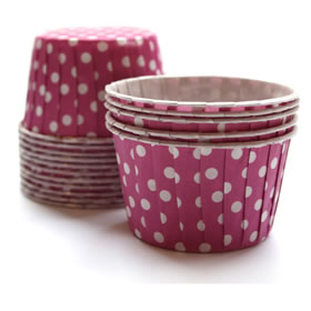Baking Cups Magenta Polka Dot
