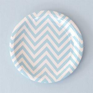 Chevron Blue Dessert Plates