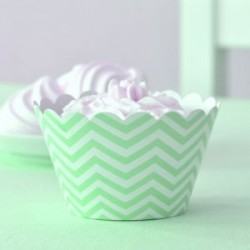 Chevron Green Cupcake Wrappers