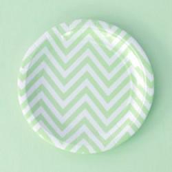 Chevron Green Dessert Plates
