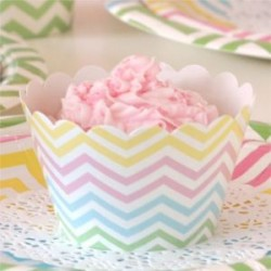 Chevron Rainbow Cupcake Wrappers