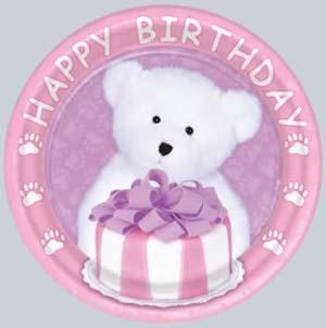 Boyd's Bear 1st Birthday Girl Dessert Plate
