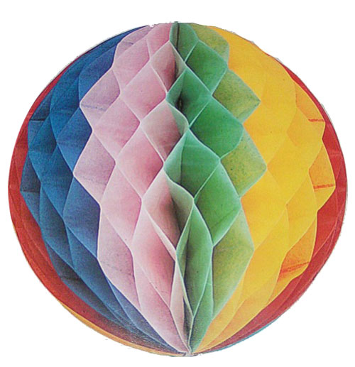 Tissue multi coloured Honey comb Ball