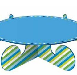 Cake Stand 1 Tier Blue Stripe
