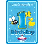 1st Birthday Boy Animal Invitations & Envelopes