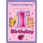 1st Birthday Girl Animal Invitations