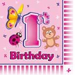 1st Birthday Girl Animal Napkins