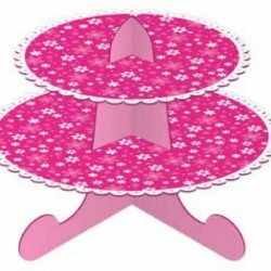 Cake Stand 2 Tier Pink Flowers
