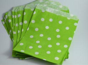 Polka Dot Lime Paper Bag