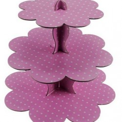 Cake Stand Three Tier Pink Polka Dot