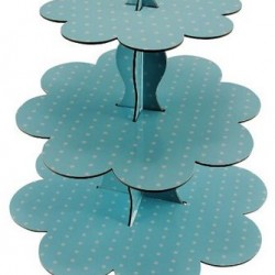 Cake Stand Three Tier Blue Polka Dot