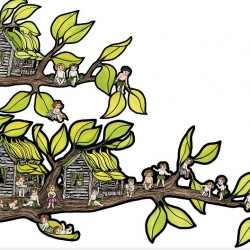 Beetle Bottoms Tree Homes Wall Decal