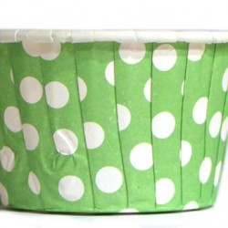Baking Cups Green Polka Dot