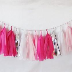 Tissue Paper Tassel Garland Shades of Pink