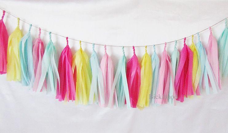Tissue Paper Tassel Garland Modern Pastels