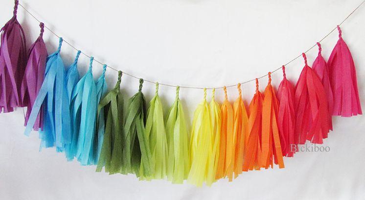 Tissue Paper Tassel Garland Rainbow