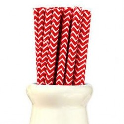Straws Chevron Red