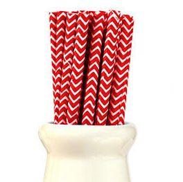 Straws Chevron Red