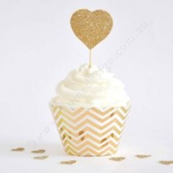 Chevron Gold Foil Cupcake Wrapper