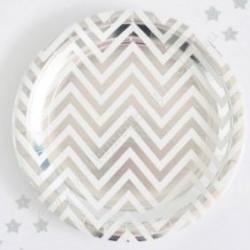 Chevron Silver Foil Plates