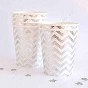 Chevron Silver Foil Cups