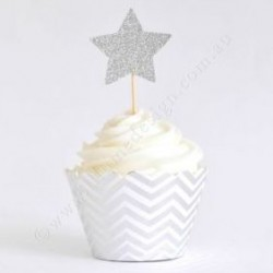 Chevron Silver Foil Cupcake Wrappers