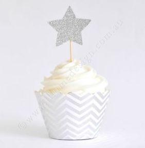 Chevron Silver Foil Cupcake Wrappers