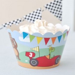 Little Race Cars Cupcake Wrappers