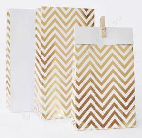 Chevron Gold Foil Treat Bags