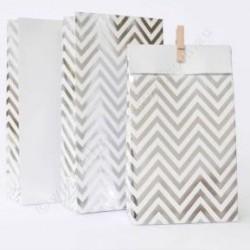 Chevron Silver Foil Treat Bags