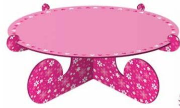 Cake Stand 1 Tier Pink Flowers