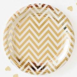 Chevron Gold Foil Plates