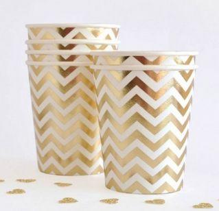 Chevron Gold Foil Cups