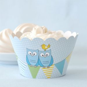 Blue Owl Cupcake Wrappers