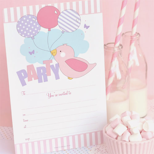 Birdy Pink Invitations & Envelopes