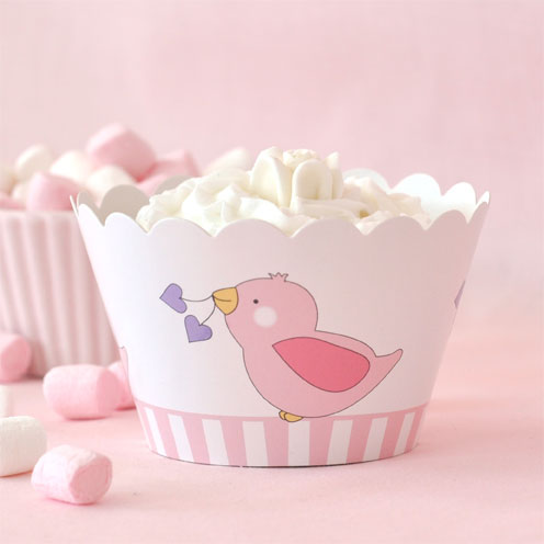 Birdy Pink Cupcake Wrappers