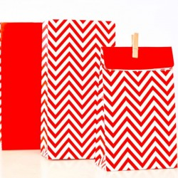 Chevron Red Treat Bags