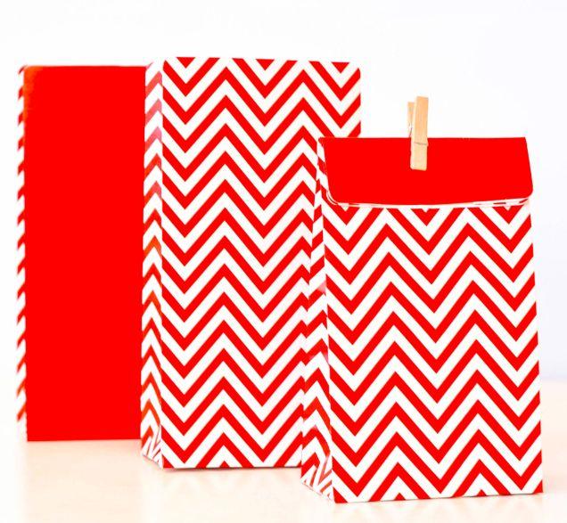 Chevron Red Treat Bags
