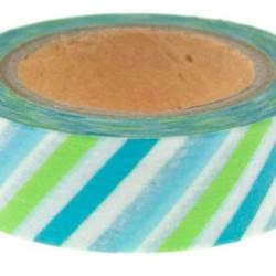 Washi Tape Green Blue Stripe