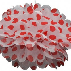 Tissue Pom Pom Polka Dot Red